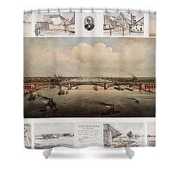 The Bridge At St. Louis, Missouri, Ca. 1874 Shower Curtain