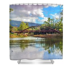 The Bridge At Vasona Lake Digital Art Shower Curtain