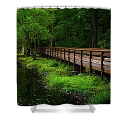 Shower Curtain featuring the photograph The Bridge At Wolfe Park by Karol Livote
