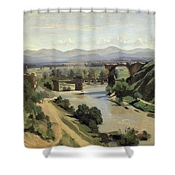 The Bridge Of Augustus Over The Nera Shower Curtain by Jean Baptiste Camille Corot