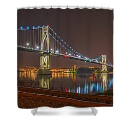 The Bridge With Blue Holiday Lights Shower Curtain