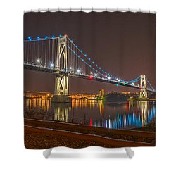 The Bridge With Blue Holiday Lights Shower Curtain by Angelo Marcialis