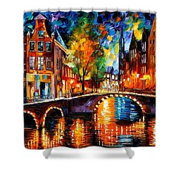 The Bridges Of Amsterdam Shower Curtain by Leonid Afremov