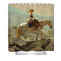 Shower Curtain featuring the painting The Bridle Path, White Mountains - 1868 by Winslow Homer