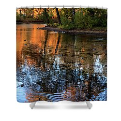 The Bright Colors Of Autumn, Quiet Evenings Are Reflected In The Waters Of The City Pond Shower Curtain
