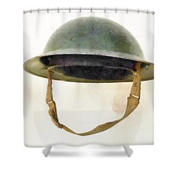 The British Brodie Helmet  Shower Curtain