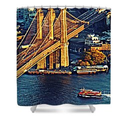 Shower Curtain featuring the photograph The Brooklyn Bridge At Sunset   by Sarah Loft