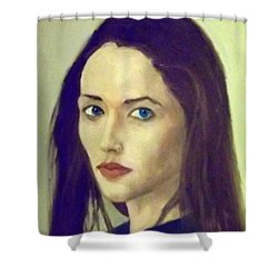 The Brunette With Blue Eyes Shower Curtain