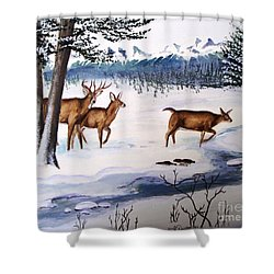 Shower Curtain featuring the painting The Buck Stops Here by Patricia L Davidson