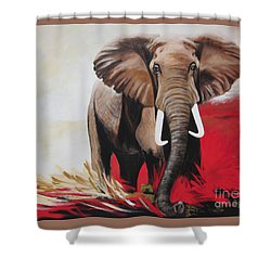 Bumper The  Bull Elephant  Shower Curtain