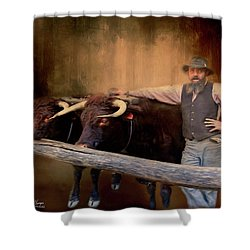 Shower Curtain featuring the photograph The Bullock Driver by Wallaroo Images