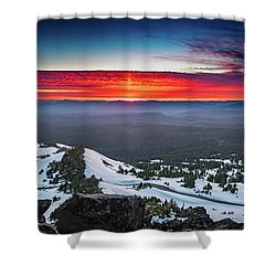 Shower Curtain featuring the photograph The Burning Clouds At Crater Lake by William Lee