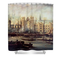 The Burning Of The Houses Of Parliament Shower Curtain by The Burning of the Houses of Parliament