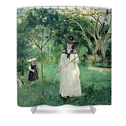 The Butterfly Hunt Shower Curtain by Berthe Morisot