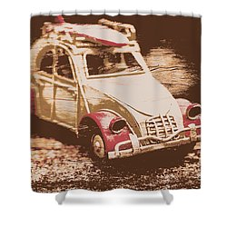 The Bygone Surfing Holiday Shower Curtain