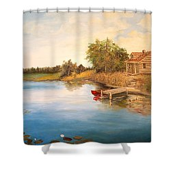 Shower Curtain featuring the painting The Cabin by Alan Lakin