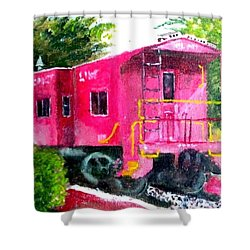 The Caboose Shower Curtain by Jim Phillips