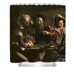 The Calling Of St. Matthew Shower Curtain by Michelangelo Merisi da Caravaggio