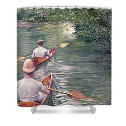 The Canoes Shower Curtain by Gustave Caillebotte