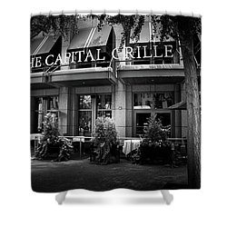 The Capital Grille In Black And White Shower Curtain