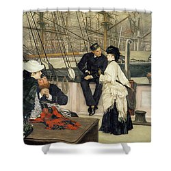 The Captain And The Mate Shower Curtain by Tissot