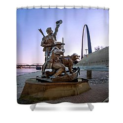 Shower Curtain featuring the photograph The Captain Returns With Arch by David Coblitz