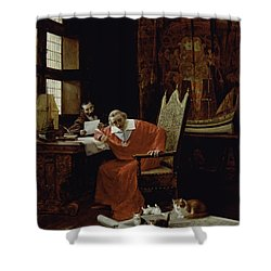 The Cardinal's Leisure  Shower Curtain by Charles Edouard Delort