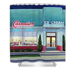 The Carnation Ice Cream Shop Shower Curtain