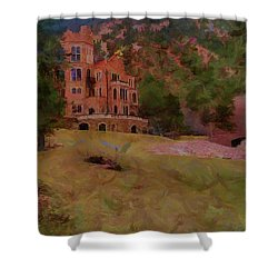 Shower Curtain featuring the digital art The Castle by Ernie Echols