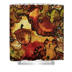 The Cat And The Acorn Shower Curtain
