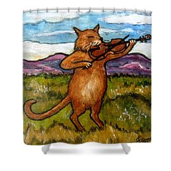 The Cat And The Fiddle Shower Curtain by Frances Gillotti