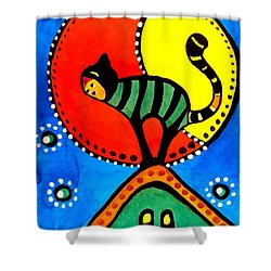The Cat And The Moon - Cat Art By Dora Hathazi Mendes Shower Curtain by Dora Hathazi Mendes