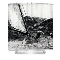 The Cat Boat Shower Curtain