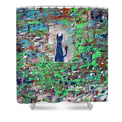 Shower Curtain featuring the painting The Cat In The Garden by Fabrizio Cassetta