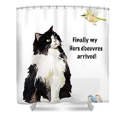 Shower Curtain featuring the painting The Cat's Hors D'oeuvres by Colleen Taylor