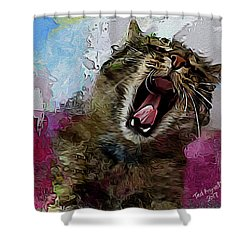 The Cat's Meow Shower Curtain by Ted Azriel
