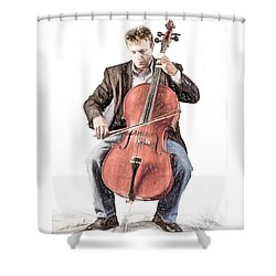 Shower Curtain featuring the photograph The Cello Player In Sketch by David and Carol Kelly