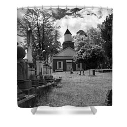 The Cemetery At Harshaw Chapel In Black And White Shower Curtain