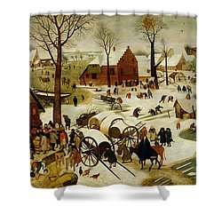 The Census At Bethlehem Shower Curtain by Pieter the Younger Brueghel