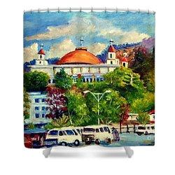 The Central Taxi Terminal In Jayapura Shower Curtain