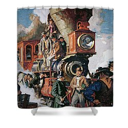 The Ceremony Of The Golden Spike On 10th May Shower Curtain by Dean Cornwall