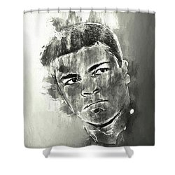 The Champ Monochrome Shower Curtain by Jack Torcello