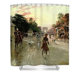 The Champs Elysees - Paris Shower Curtain by Georges Stein