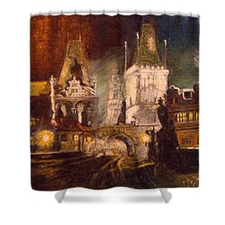 The Charles Bridge In Prague At Night Shower Curtain