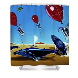 Shower Curtain featuring the painting The Chase by Paxton Mobley