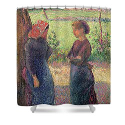 The Chat Shower Curtain by Camille Pissarro