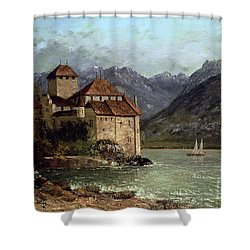 The Chateau De Chillon Shower Curtain by Gustave Courbet