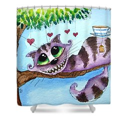 The Cheshire Cat - Tea Anyone Shower Curtain by Lucia Stewart