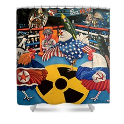 The Chickens Fight Shower Curtain