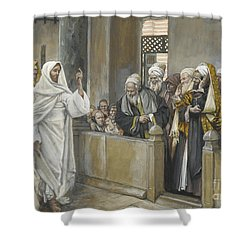 The Chief Priests Ask Jesus By What Right Does He Act In This Way Shower Curtain by James Jacques Joseph Tissot